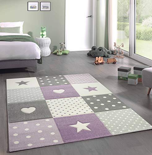 Kinderteppich Teppich Kinderzimmer mit Stern Herz in Lila Grau Creme Größe 140x200 cm