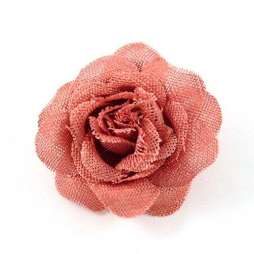 rougecaramel Haarschmuck Brosche Blume Hochzeit oder Zange Haar Sisal–Orange