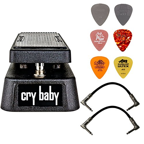 Dunlop Crybaby GCB-95 Classic Wah Pedal Bundle with 2 Patch Cables and 6 Assorted Dunlop Picks