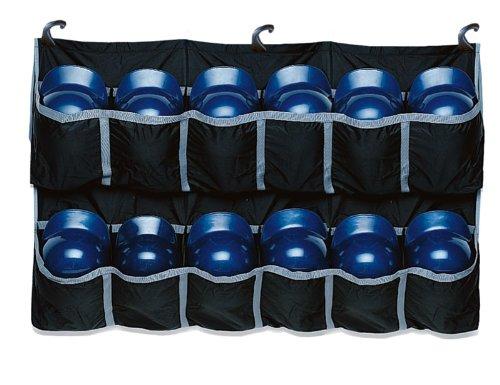 EASTON Hanging Team Helmet Bag, Black, Reinforced Nylon Slots Holds Up to 12 Helmets, 3 J Designed Fence Hooks for Dugout Functionality