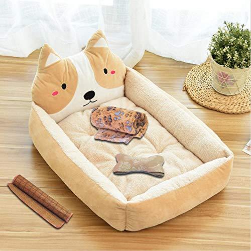 Miwaimao - Alfombrilla para cama de perro, diseño de dibujos animados, color beige (familia de cuatro), 80 cm (23 kg dentro)