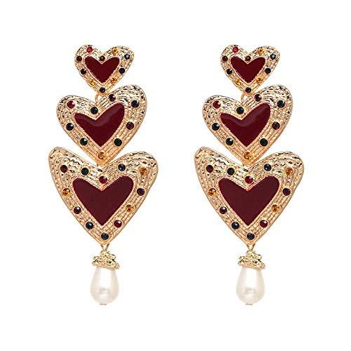OUHUI Pendientes de Amor Pendientes de Navidad Pendientes Vintage Pendientes Pendientes de Mujer Pearl Pendientes Moda/B