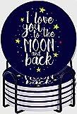 GUVICINIR Juego de 6 Posavasos de cerámica Absorbente con Base de Corcho,Apto para Tipos de Tazas,Pincel I Love You to The Moon and Back Cita inspiradora romántica Letras a Mano