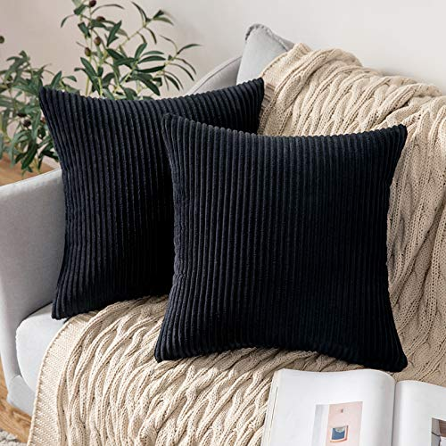MIULEE Striped Corduroy Fabric Square Throw Pillow Case,Solid Cushion Cover Sham Home for Sofa Chair Couch/Bedroom Decorative Pillowcases 22'x22',2 Pieces Black