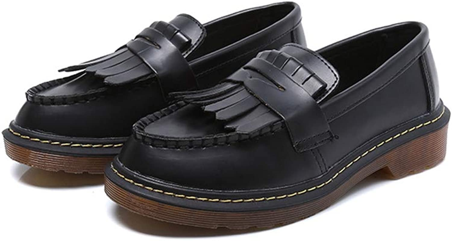 T-JULY Classic Women Tassels Loafers Slip on shoes Woman Soft Leather Women Flats Oxford shoes for Women Plus Size 10 11 12