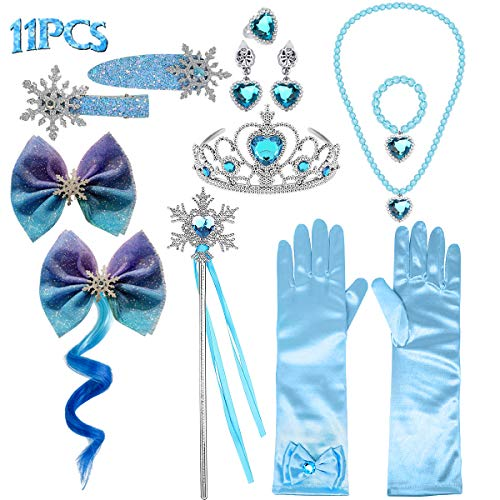JioJioLin Princess Wig Frozen Elsa Tiara Necklace Gloves Elsa Dress Up Costume Accessories (Glove Set)