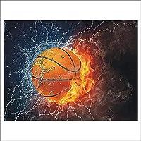 5Dダイヤモンドペインティングフルダイヤモンドバスケットボールウォーターファイアダイヤモンドペインティングキット大人の子供クロスステッチ刺繍キットアートクラフト家庭用壁の装飾40 * 50cm