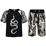 A2Z 4 Kids Kids Boys T Shirt & Shorts Set Designer's 100% Cotton Snake Print Camouflage T-Shirt Top & Camouflage Print Shorts Set. A2Z 4 Kids Is Our Trade Mark, It Is Exclusive To Our Amazon Shop Only. Soft 100% Cotton T Shirts & Shorts, Short Sleeve...