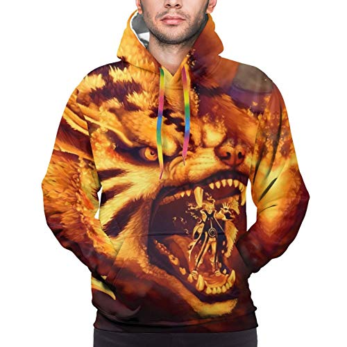 Naruto Nine Tailed Fox Unisex Men Women 3D Print Pullover Hoodie Sweatshirt with Front Pocket Hoodie Outwear Jacket Black