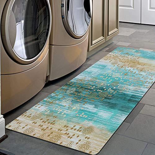 "Pauwer Non Slip Runner Rug Waterproof Natural Rubber Kitchen Runner Laundry Room Floor Mat Doormat Entrance Rug (20""x48"", Ombre Blue)"
