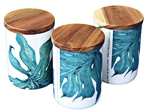 LA VITA VIVA 3 Dekorative Aufbewahrungsdosen aus Porzellan mit Deckel aus Akazienholz und Silikondichtung Green Love Blattmuster