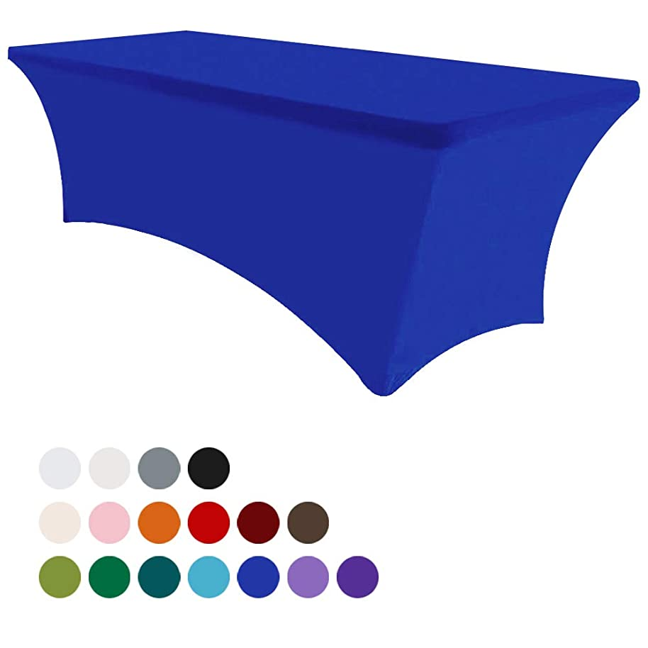 Eurmax 6Ft Rectangular Fitted Spandex Tablecloths Wedding Party Table Covers Event Stretchable Tablecloth (Royal Blue)