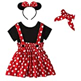 Recién Nacido Infantil Bebé Niña Disfraz de Minnie Mouse Camisa de Algodón Manga Corta Lunares Falda de Tirantes Venda 4pcs Set para Fiesta Cumpleaños Carnaval Navidad Halloween Rojo 01 18-24 Meses