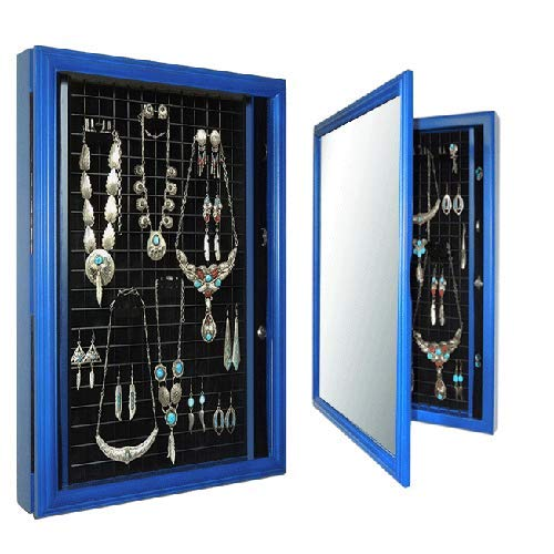 ***Schmuckschrank Sabine*** All in One: Vitrine+Bilderrahmen- individuelles Einrichtungssystem- blau