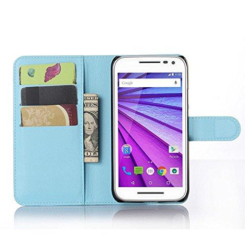 Ycloud Tasche für Motorola Moto G 3 Generation Hülle, PU Ledertasche Flip Cover Wallet Hülle Handyhülle mit Stand Function Credit Card Slots Bookstyle Purse Design blau