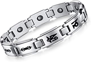 Necklace Necklaces لقلائد قلادة Couple Bracelet Six-Word Mantra Magnetic Health Wristband Titanium Steel Jewelry for Him And Her Gift,2# گردنبند گردنبند