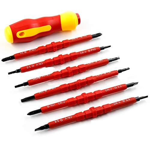 Katerk Juego de destornilladores aislados de 500 V de 7 piezas de herramientas de multibit destornillador de reparación con puntas magnéticas ranuradas