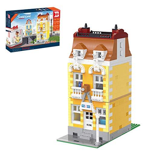 HYZM Architektur Bausteine Modell, 2267 Stück 2-in-1 Stadthaus Fotostudio mit Minifiguren Kreative Architektur Modellbausatz, Architecture Model Kompatibel mit Lego