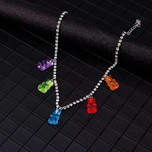 Collar Colgante Cadena de Cristal de Color Caramelo Mini Collares de Cadena de Oso gomoso para Mujer Colgantes de Animales Bonitos joyería para Mujer Collar Collar Amistad Aniversario Regalo
