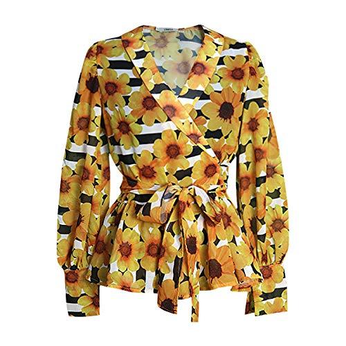 Tops de Manga Larga para Mujer, Camiseta con Estampado Floral en Toda la Prenda y Camisas Informales holgadas de Manga Larga con Linterna de Moda M