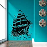 Gran barco pirata retro velero vinilo pared calcomanía mar natural arte de pared de vinilo hogar océano decoración pegatina otro color 37x28cm