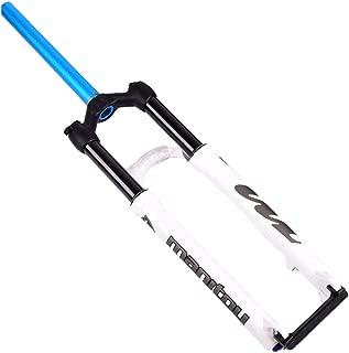 HIOD Bicycle Forks Mountain Bike Air Suspension Shock Pump MTB Straight Tube Shoulder Control Fork,White,26