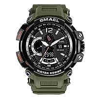 腕時計 メンズ SMAEL腕時計 メンズウォッチ 防水 スポーツウォッチ デジタル アナログ表示  多機能 ライト時計 運動腕時計 石英 電子腕時計 クォーツウオッチ  (アーミーグリーン)