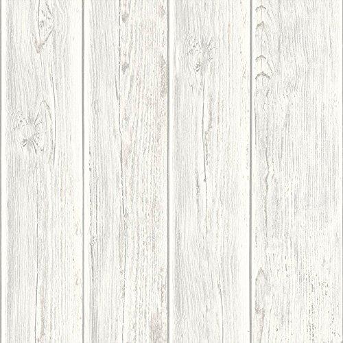 Papel pintado no tejido UGEPA miniatura de madera, blanco, J86807