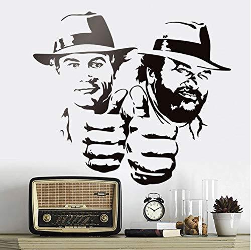 Bud Spencer Und Terence Hill Wandaufkleber Lächerlich Lustiger Charakter Porträt Vinyl Aufkleber Klassischer Film Figur Wandbilder 48 * 42Cm