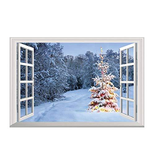 HWJHYW 3D valse ramen muurstickers zelfklevende faux venster muurtattoo Kerstmis vakantie decor sticker