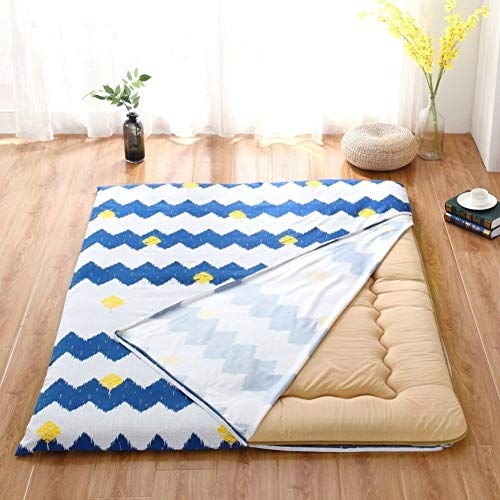 HIGHKAS Cotton Tatami Floor mat Bedspread Coverlet,Plenty Thick Washable [dust-Proof] with Zipper for Mattress Bedding-E 200x220cm(79x87inch)