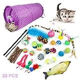 ZWOOS Katzenspielzeug,28 Stück Katze Toys Variety Pack mit Katzentunnel, Bälle, Federspielzeug, Plüschspielzeug, Spielzeugmäuse, Katzen Spielzeug Set