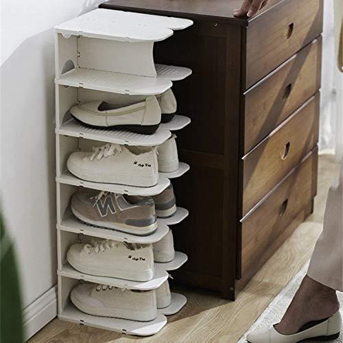 QWH Colgador de Zapatos apilable Creativo Plegable Ahorro de Espacio Armario Rack de Almacenamiento Zapatos de múltiples Capas Soporte Organizadores Gabinete 6 Capas, Blanco