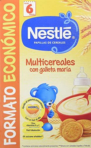 Nestlé Papillas MultiCereales Galleta - Paquete de 6 x 500 gr - Total: 3 kg