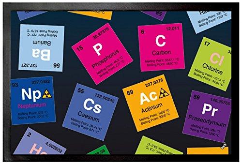 1art1 Periodensystem Der Elemente - Kohlenstoff, Barium, Brom, Radium, In Englisch Fußmatte Innenbereich und Außenbereich | Design Türmatte 60 x 40 cm