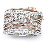 925 Sterling Silver Shining White/Rose Gold X Criss Cross Ring Cubic Zirconia Promise Rings CZ Love Cross Knot Ring Engagement Wedding Band Ring for Women (US Code 7)