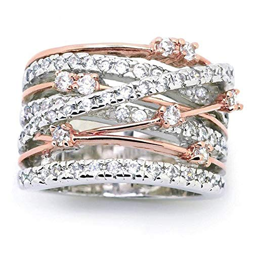 925 Sterling Silver Shining White/Rose Gold X Criss Cross Ring Cubic Zirconia Promise Rings CZ Love Cross Knot Ring Engagement Wedding Band Ring for Women (US Code 6)