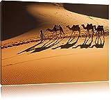 Kamelkarawane in der Wüste Bild auf Leinwand, XXL riesige