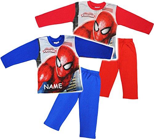 alles-meine.de GmbH alles-meine.de GmbH 2 TLG. Set _ Hausanzug / Schlafanzug - Spider-Man - incl. Name - Größe: 2 Jahre - Gr. 92 - 100 % Baumwolle - Langer Pyjama / Sportanzug langärmelig / TRAI..