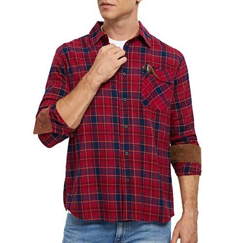 MEETYOO Hemden Herren, Langarmhemden Freizeithemden Männer Hemd Regular Fit Hemden Kariert