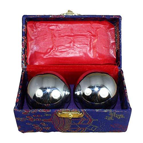MOVKZACV Baoding Balls 2 pz 43 mm/38 mm Cinese Salute Esercizio Sfere Salute Ridurre Lo Stress Placcato Cromo Ferro