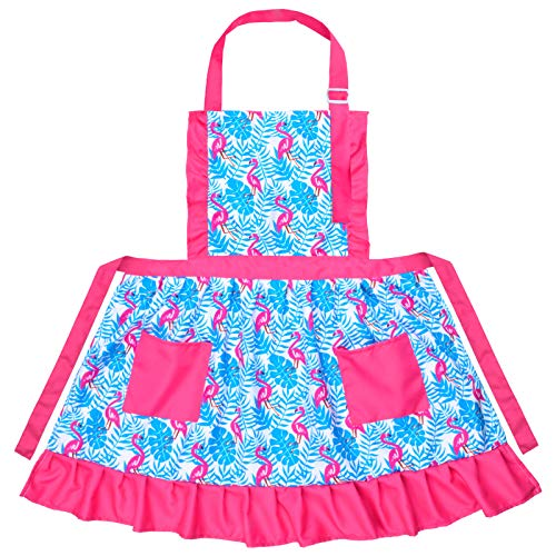 Kids Girls Aprons with Two Pockets, Cute Pleated Skirt Aprons Baking Apron, Adjustable Kitchen Apron for Children Daughters Little Girls (Flamingo, M, for 6-12 Years)