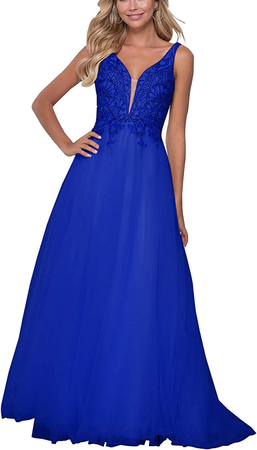 Beaded Prom Gown Long Tulle Backless V Neck Women's Evening Party Dresses
