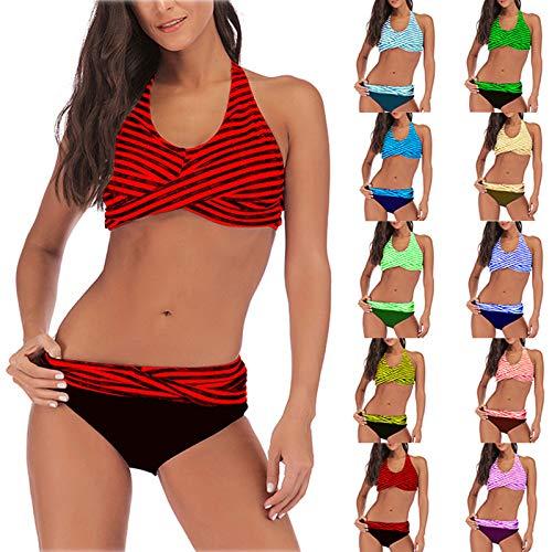 HWTOP Damen Bikini Set Badeanzug Push Up Verstellbar Crossover Ties-up High Waist Bikinihose V Ausschnitt Zweiteiliger Strandbikini FüR Mä Dchen Teenager Strandkleidung Strandwear rot 4XL
