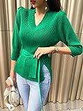 Moda Sudaderas Jersey Sweater Blusa Casual De Media Manga De Soplo para Mujer, Blusas con Cuello En V, Blusa Sexy Elegante, Blusas para Mujer, Talla Única, Verde