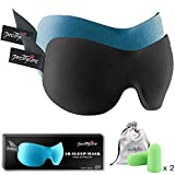 PrettyCare Sleep Mask 2 Pack,Eye Mask for Sleeping - 3D Contoured Sleeping Mask 100% Blackout - Blindfold Airplane with Ear Plugs, Night Masks with Travel Bag