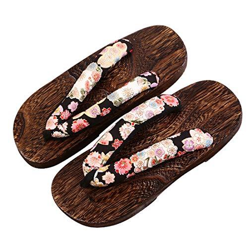 Zuecos de Madera Japonés para Cosplay Fiesta, Sandalias Chanclas de Damas Zapatos de Playa Verano para Mujeres Hombres Casuales