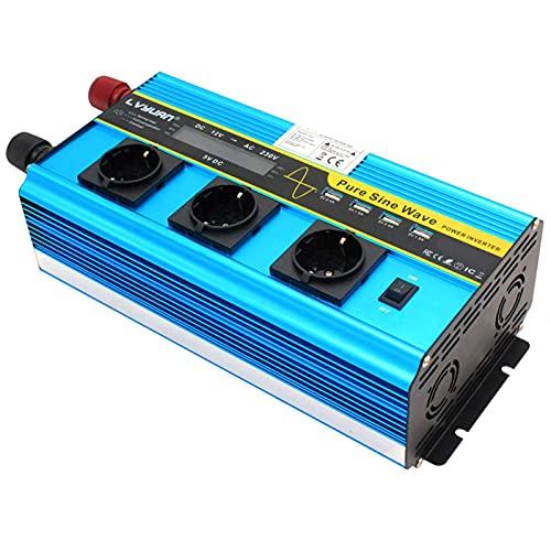 Inversor de Corriente para Coche 5000W 12V a 230V Inversor de Corriente Pure Sine Wave 4 USB Inversor de Coche Pantalla LCD con Control Remoto inalámbrico para RV Camión Coche Barco