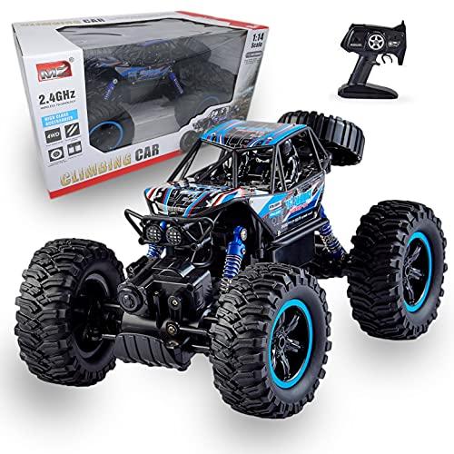 Juguetecnic Coche Teledirigido 4x4 RC Bigfoot Rock Crawler 1:14 | 4WD Monster Truck Coche Radiocontrol Todoterreno Eléctrico con Batería (Azul)