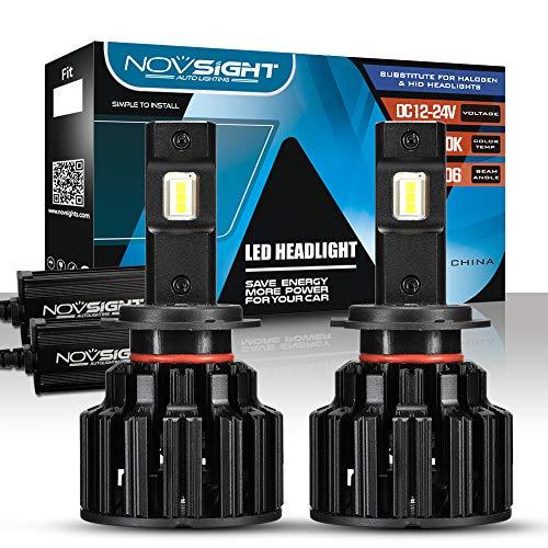 NOVSIGHT Kit de Conversion Ampoules H7 LED de Voiture,Phares de Auto 20000LM(10000LMx2) 100W(50Wx2)6000K Blanche pour remplacement Ampoules Halogènes/Xénons